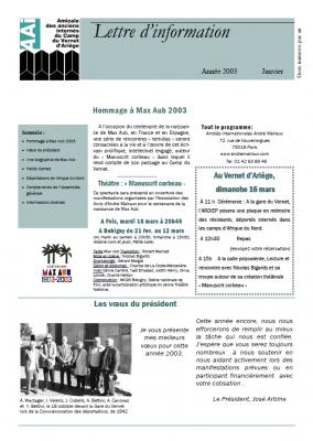 Bulletin janvier 2003
