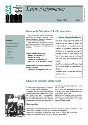 Bulletin août 2003
