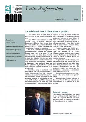Bulletin août 2005