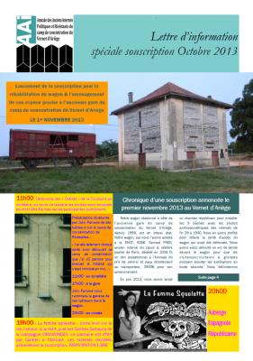 Bulletin octobre 2013 spécial souscription